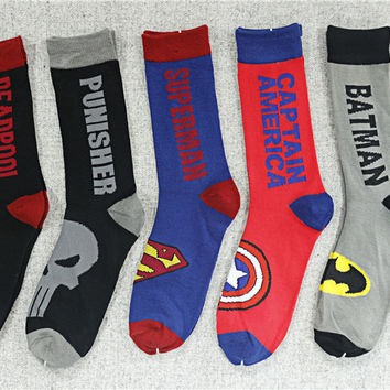 Avenger Deadpool Punisher Batman Superman Socks American Captain Brand New Cotton Fashion Casual Men Women Socks Summer Sock