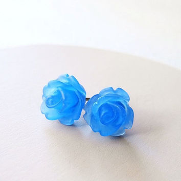 Blue Rose Earring Studs - Blue Jewelry - Translucent Blue Flower Earring Posts - Floral Jewelry