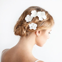 Cherry Blossom Hair Pins - Bridal Flower Pins Ivory - Mini Hair Flower - Wedding Hair Accessories - SET