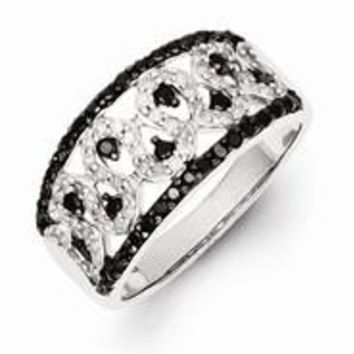 Sterling Silver Black and White Diamond Cigar Wedding Band Ring