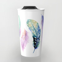 Watercolor Feather Travel Mug by Smyrna