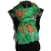 Roses & Chain Scarf - Green Floral Scarf - Fashion Scarf - Unique Shawl - Pareo - Trendy Fabric Scarf - Spring Trends - Gift Idea