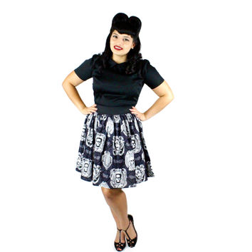 Classic Monster Portraits Pleated Skirt