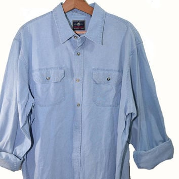 Vintage Denim Shirt Wrangler Shirt Men's Denim Shirt Button Down Shirt Long Sleeve Shirt Size XL