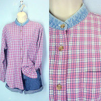 80s Denim Shirt / Plaid Slouchy Blouse / 1980s Pink Shirt / Oversized Top