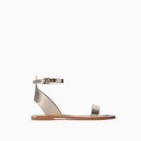 ZARA GOLD METALLIC LEATHER ANKLE STRAP SANDALS FLATS - UK7 EUR40 US9.5