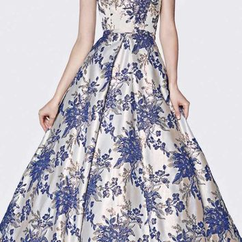 Strapless Floral Brocade Gown Royal Straight Neckline And Pockets
