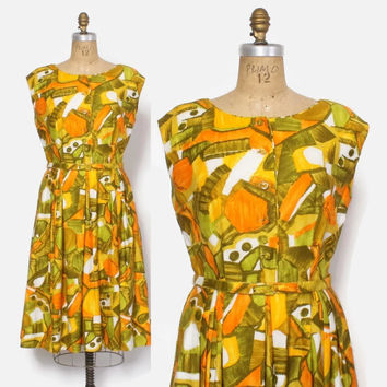 Vintage 60s Polynesian DRESS / 1960s Abstract Tropical Print Cotton Sun Dress M