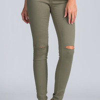 Daily Dose Slit Pants Jeans - Olive