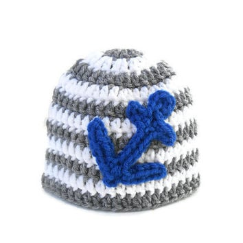 Crochet Baby Beanie with Anchor - Nautical Crochet Baby Hat - Crochet Anchor Hat -  Baby Shower Gift for Boys - Nautical Theme Baby Nursery