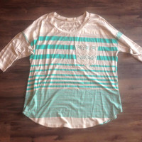 Plus Size Mint Stripe with Lace Pocket