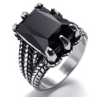KONOV Jewelry Biker Gothic Dragon Claw Stainless Steel Men's Ring, Black Silver