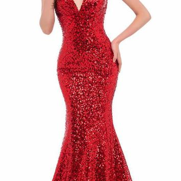 Luxury Evening Dresses Red Sequins V neck Elegant Long Black Formal Evening Gowns Gold mermaid dresses