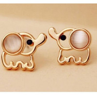 Celebrity Fashion Lovely Cute Baby Elephant Cat Umbilicaria Stud Earring Jewelry = 1929838596
