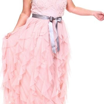 Teeze Me | Plus Sleeveless Halter Soutache Top Glitter Mesh Ruffle Long Gown  | Blush