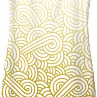 Gradient yellow and white swirls doodles Simple Dress