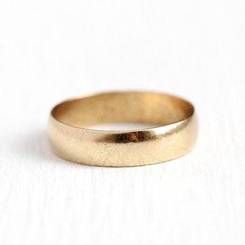 Antique Gold Band - Vintage 10k Rosy Yellow Gold Wedding Ring - Vintage Size 5 1920s Art Deco Fine Bridal Cigar Unadorned Minimalist Jewelry