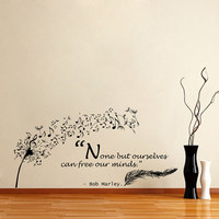 Housewares Wall Vinyl Decal Quote Bob Marley None but Ourselves Can Free Our Minds Dandelion Feather Musical Notes Sticker V62