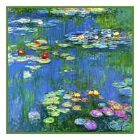 Water Lilies in Bloom detail inspired by Claude Monet's impressionist painting Counted Cross Stitch or Counted Needlepoint Pattern
