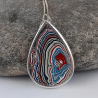 Vintage Fordite (detroit agate) and Silver pendant - blue red white