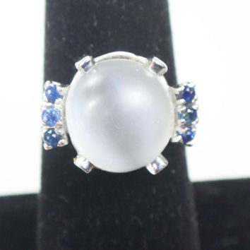 Vintage 14k Moonstone Ring Vintage Moonstone and Sapphire Ring 14k White Gold Cabachon Moonstone Ring Natural Cats Eye Stone