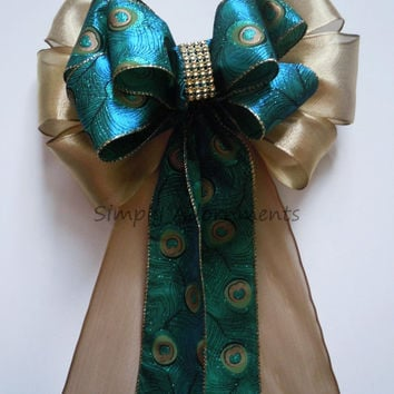 Peacock Wedding Pew Bow Blue Peacock Gold bling Wedding Ceremony Decoration Peacock Christmas Wreath Bow Peacock Christmas Tree Bow