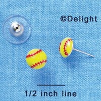 Mini Enamel Softball - Post Earrings (1 Pair)