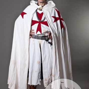 DISCOUNTED PRICE! Knight Crusader Templar Medieval Cotton White Cloak with Crosses