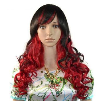 60cm Curly Wavy Gradient Front Lace Wig Blunt Curled Hair Cap Cosplay