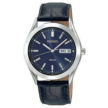 Seiko Solar Mens Watch - Blue Dial - Stainless - Black Leather Strap - Day-Date
