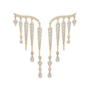 Swarovski Clear Crystal Pierced Dangle Earrings FLAME Rose Gold #5230724