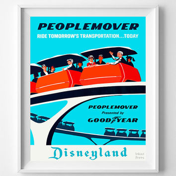 Vintage Disneyland, Poster, Print, Peoplemover, Disney, Tomorrowland, Fantasyland, Reproduction, Restored, Restoration, Vintage [No 1278]