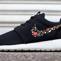 Womens and Mens Custom Nike Roshe Run sneakers, infrared, yellow, blue, white, trendy design, Cute nikes, retro design, Customized swoosh
