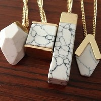 Geometric Chunky Marble Pendant Necklace