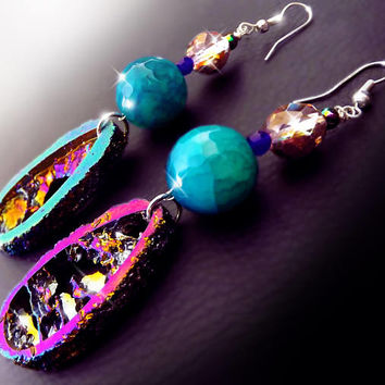 Druzy crystal earrings, Rainbow gemstone earrings, festival fashion, boho jewelry, raw crystals, agate earrings, crystal earrings, OOAK