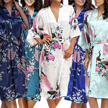 Bridesmaid Robe Set of 9, Floral, Womens Sizes 2-18, Mid Length