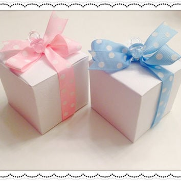 "25 Baby Shower Candy Box Favors, Baby Shower Gift Box Favors Pink/Blue 2x2"" Boxes"