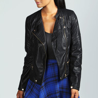 Amanda Stitch Detail PU Asymmetric Biker Jacket