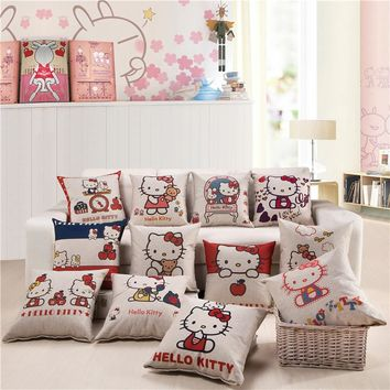 High Quality 12 Style Home Office Sofa Throw Pillow Cover 45*45cm Hello Kitty Household Pillowcase Cushion Cotton Linen Fabric B