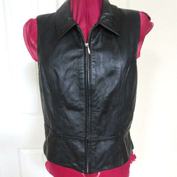 Vintage Soft Black Leather Zippered Vest with Collar and Flare Bottom by Wilsons