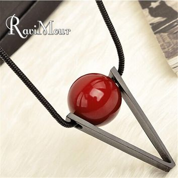 RAVIMOUR Fashion Women's Long Necklace Steampunk Red Ball Triangle Maxi Necklaces & Pendants Collares Jewelry 2019