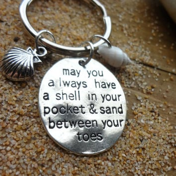 Beach Ocean Nautical Shell Charm Keychain