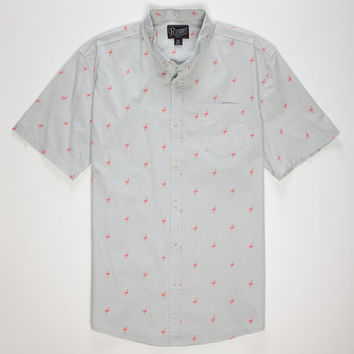 Retrofit Pink Flamingo Mens Shirt Grey  In Sizes