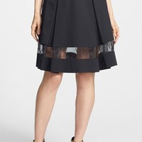 Vince Camuto Sheer Inset Pleated Skirt