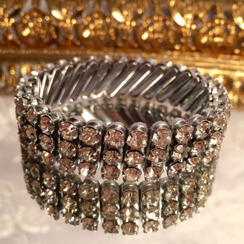 Vintage Diamond Rhinestone Stretch Bracelet for Child or Petite Wrist Silver Tone Bracelet