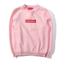 SUPREME new autumn and winter camouflage embroidery lovers sweater plus velvet thick coat Pink