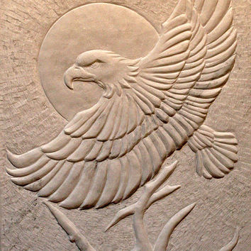 Hand carved deep relief Marble panel original sculpture modern stone art