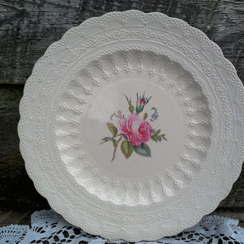 "Vintage Spode's ""Billingsley Rose"" Dinner Plate, Spode Jewel Copeland Spode, Red/Pink Transferware, Serving, Rose, English Plate"