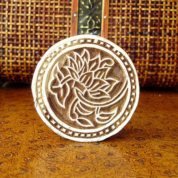 Lotus Flower Stamp: Hand Carved Wood Printing Block, Round Handmade Circle Stamp from India