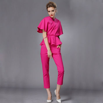 Short Cape Sleeve Peplum Jumpsuit